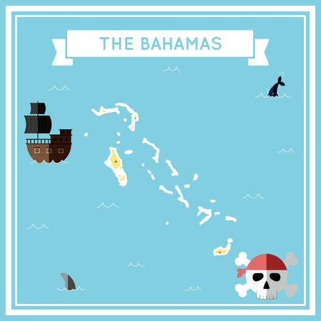 cartoon bomb: Flat treasure map of Bahamas. Colorful cartoon with icons of ship, jolly roger, treasure chest and banner ribbon. Flat design vector illustration.