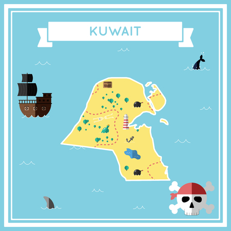 Flat treasure map of Kuwait. Colorful cartoon with icons of ship, jolly roger, treasure chest and banner ribbon. Flat design vector illustration. Ilustração