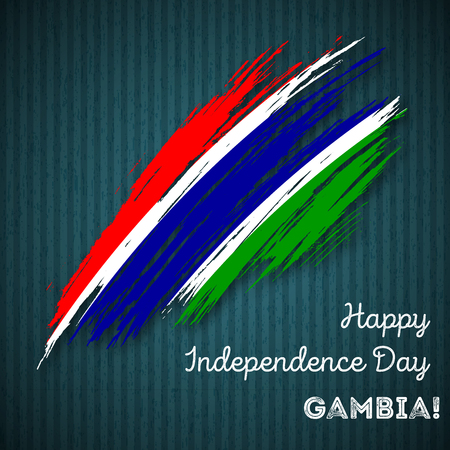 Gambia Independence Day Patriotic Design. Expressive Brush Stroke in National Flag Colors on dark striped background. Happy Independence Day Gambia Vector Greeting Card.