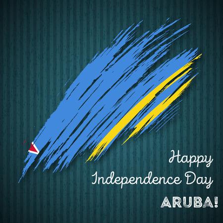 Aruba Onafhankelijkheidsdag Patriottisch Ontwerp. Expressieve penseelstreek in nationale vlagkleuren op donkere gestreepte achtergrond. Happy Independence Day Aruba Vector wenskaart.