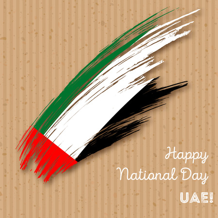 UAE Independence Day Patriotic Design. Expressive Brush Stroke in National Flag Colors on kraft paper background. Happy Independence Day UAE Vector Greeting Card. Иллюстрация