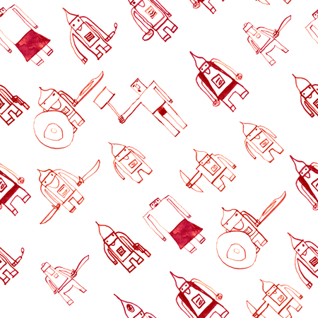 Hero seamless pattern. Bewitching childs drawing with school pen. Cute hero hand drawn with red ink on white background. Boy hero seamless pattern for textile or wrapping paper.