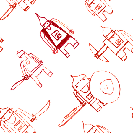 Hero seamless pattern. Interesting childs drawing with school pen. Cute hero hand drawn with red ink on white background. Boy hero seamless pattern for textile or wrapping paper.