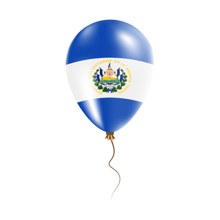 El Salvador balloon with flag. Bright Air Ballon in the Country National Colors. Country Flag Rubber Balloon. Vector Illustration.