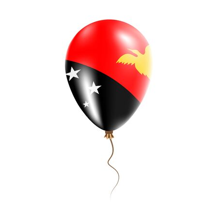 Papua New Guinea balloon with flag. Bright Air Ballon in the Country National Colors. Country Flag Rubber Balloon. Vector Illustration. Illustration