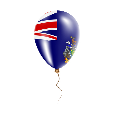georgia: South Georgia and the South Sandwich Islands balloon with flag. Bright Air Ballon in the Country National Colors. Country Flag Rubber Balloon. Vector Illustration.