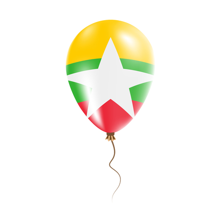 Myanmar balloon with flag. Bright Air Ballon in the Country National Colors. Country Flag Rubber Balloon. Vector Illustration.