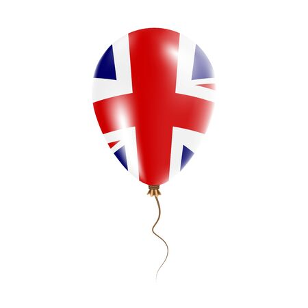 United Kingdom balloon with flag. Bright Air Ballon in the Country National Colors. Country Flag Rubber Balloon. Vector Illustration. Illustration