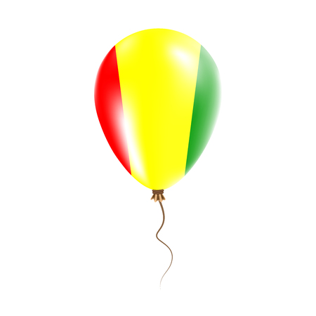pied: Guinea balloon with flag. Bright Air Ballon in the Country National Colors. Country Flag Rubber Balloon. Vector Illustration.