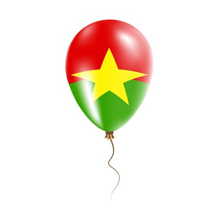 Burkina Faso balloon with flag. Bright Air Ballon in the Country National Colors. Country Flag Rubber Balloon. Vector Illustration.