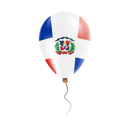 Dominican Republic balloon with flag. Bright Air Ballon in the Country National Colors. Country Flag Rubber Balloon. Vector Illustration. Illustration