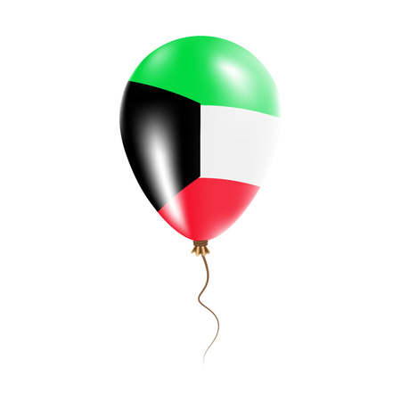 Kuwait balloon with flag. Bright Air Ballon in the Country National Colors. Country Flag Rubber Balloon. Vector Illustration.