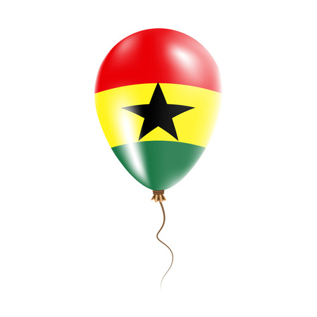 Ghana balloon with flag. Bright Air Ballon in the Country National Colors. Country Flag Rubber Balloon. Vector Illustration.