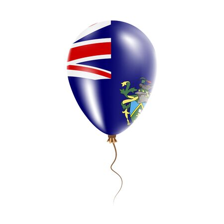 Pitcairn balloon with flag. Bright Air Ballon in the Country National Colors. Country Flag Rubber Balloon. Vector Illustration.