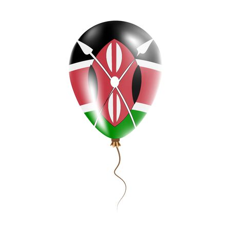 Kenya balloon with flag. Bright Air Ballon in the Country National Colors. Country Flag Rubber Balloon. Vector Illustration.