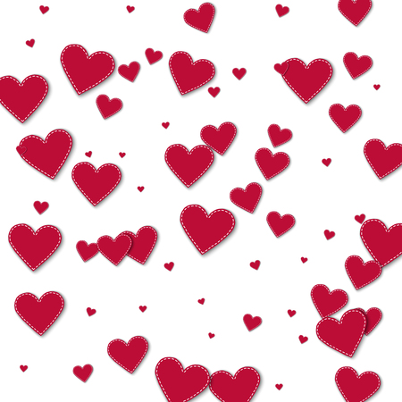Red stitched paper hearts. Chaotic scatter lines with red stitched paper hearts on white background. Vector illustration.