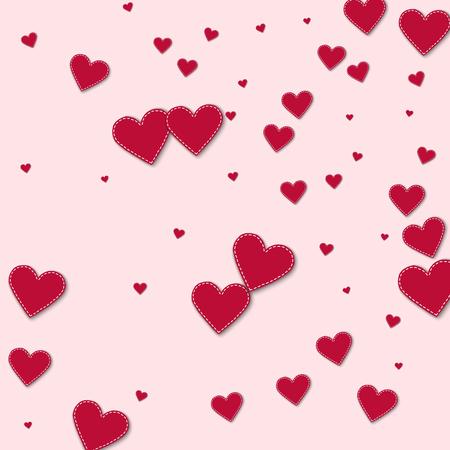 Red stitched paper hearts. Random scatter on light pink background. Vector illustration.