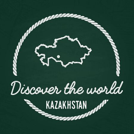 White chalk texture hipster insignia with Republic of Kazakhstan map on a green blackboard. Grunge rubber seal with country outlines, vector illustration.