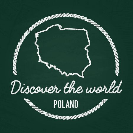 White chalk texture hipster insignia with Republic of Poland map on a green blackboard. Grunge rubber seal with country outlines, vector illustration.