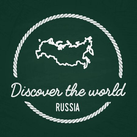 cretaceous: White chalk texture hipster insignia with Russian Federation map on a green blackboard. Grunge rubber seal with country outlines, illustration. Illustration