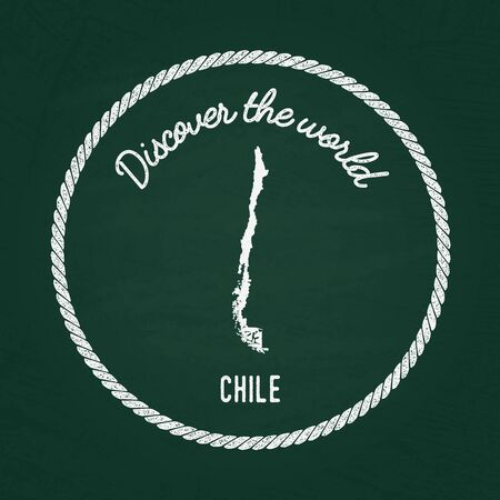 White chalk texture vintage insignia with Republic of Chile map on a green blackboard. Grunge rubber seal with country outlines, vector illustration. Illustration