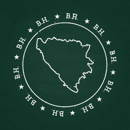 herz: White chalk texture rubber seal with Bosnia and Herzegovina map on a green blackboard. Grunge rubber seal with country outlines, vector illustration.