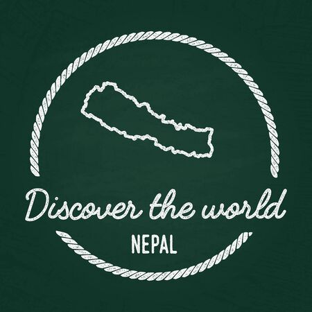 White chalk texture hipster insignia with Federal Democratic Republic of Nepal map on a green blackboard. Illustration