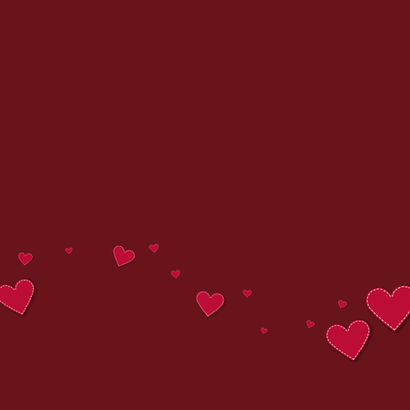 canvas print: Red stitched paper hearts. Bottom wave on wine red background. Vector illustration.