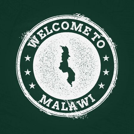 mal: White chalk texture retro stamp with Republic of Malawi map on a green blackboard. Grunge rubber seal with country outlines, vector illustration. Illustration