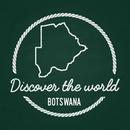 White chalk texture hipster insignia with Republic of Botswana map on a green blackboard. Grunge rubber seal with country outlines, vector illustration.