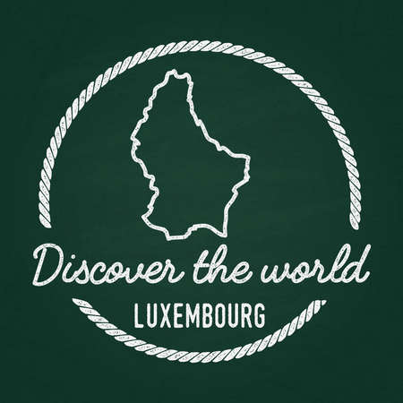 White chalk texture hipster insignia with Grand Duchy of Luxembourg map on a green blackboard. Grunge rubber seal with country outlines, vector illustration. Illustration