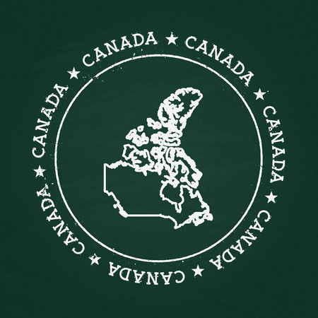 White chalk texture rubber seal with Canada map on a green blackboard. Grunge rubber seal with country outlines, vector illustration. Illustration