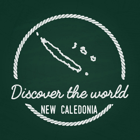 White chalk texture hipster insignia with New Caledonia map on a green blackboard. Grunge rubber seal with country outlines, vector illustration.