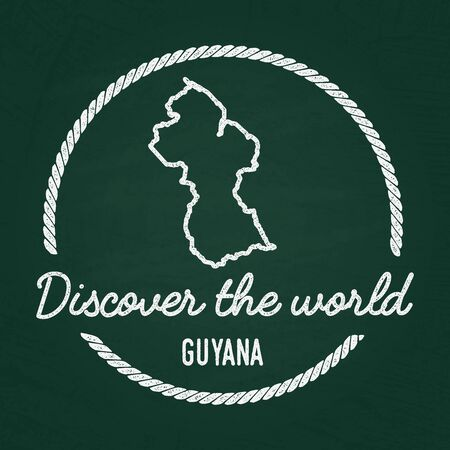White chalk texture hipster insignia with Co-operative Republic of Guyana map on a green blackboard. Grunge rubber seal with country outlines, vector illustration. Illustration