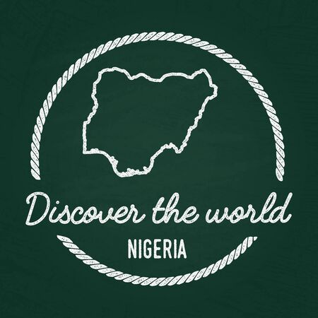 White chalk texture hipster insignia with Federal Republic of Nigeria map on a green blackboard. Grunge rubber seal with country outlines, vector illustration. Illustration