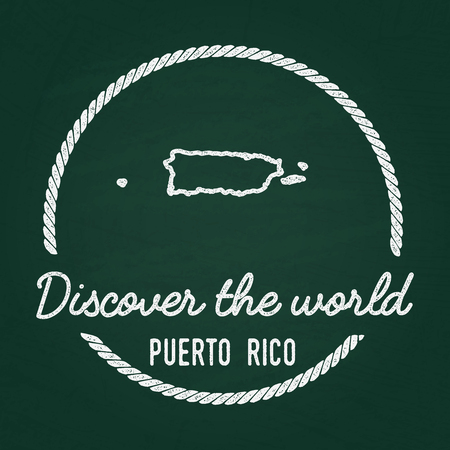 White chalk texture hipster insignia with Commonwealth of Puerto Rico map on a green blackboard. Grunge rubber seal with country outlines, vector illustration.