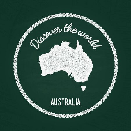 White chalk texture vintage insignia with Commonwealth of Australia map on a green blackboard. Grunge rubber seal with country outlines, vector illustration. Illustration