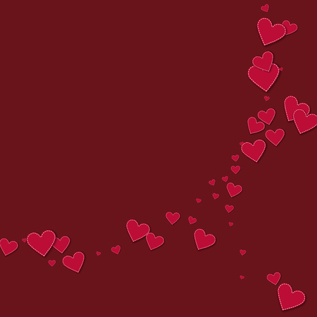 Red stitched paper hearts. Abstract crescents on wine red background. Vector illustration.