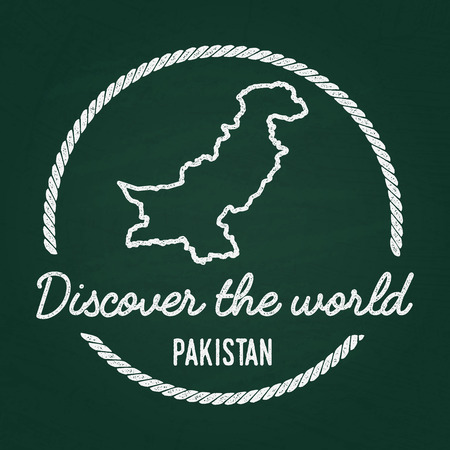 cretaceous: White chalk texture hipster insignia with Islamic Republic of Pakistan map on a green blackboard. Grunge rubber seal with country outlines, vector illustration.