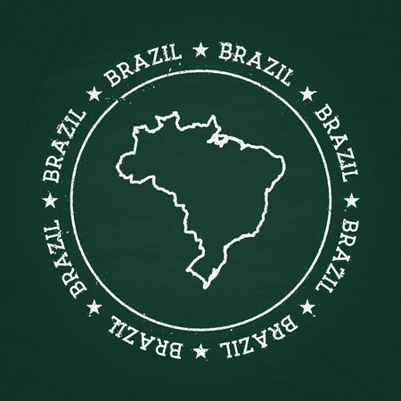 White Chalk Texture Hipster Insignia With Federative Republic - Federative republic of brazil map