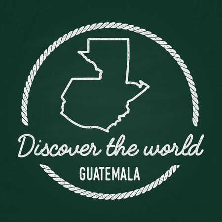 White chalk texture hipster insignia with Republic of Guatemala map on a green blackboard. Grunge rubber seal with country outlines, vector illustration.