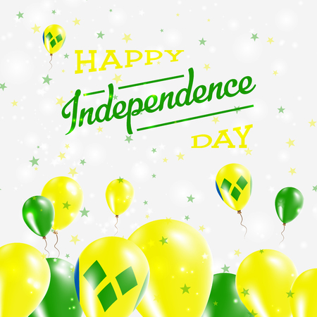 Saint Vincent And The Grenadines Independence Day Patriotic Design. Balloons in National Colors of the Country. Happy Independence Day Vector Greeting Card.