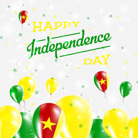 Cameroon Independence Day Patriotic Design. Balloons in National Colors of the Country. Happy Independence Day Vector Greeting Card.