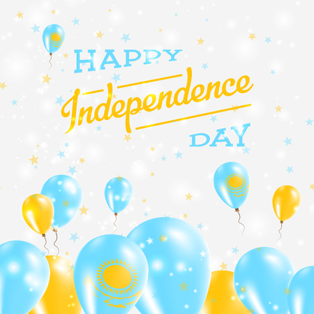 Kazakhstan Independence Day Patriotic Design. Balloons in National Colors of the Country. Happy Independence Day Vector Greeting Card.