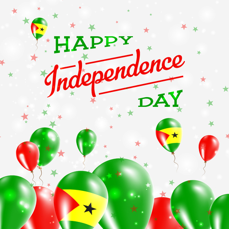 Sao Tome and Principe Independence Day Patriotic Design. Balloons in National Colors of the Country. Happy Independence Day Vector Greeting Card. Ilustração Vetorial