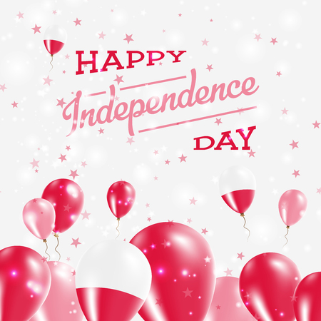Poland Independence Day Patriotic Design. Balloons in National Colors of the Country. Happy Independence Day Vector Greeting Card.