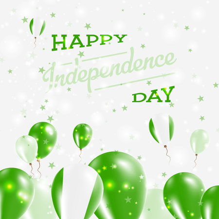 Nigeria Independence Day Patriotic Design. Balloons in National Colors of the Country. Happy Independence Day Vector Greeting Card.