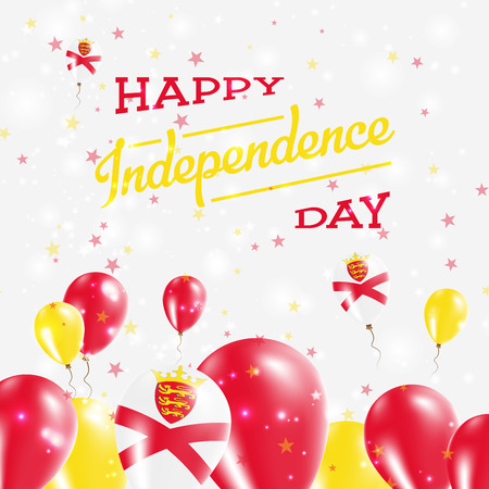 Jersey Independence Day Patriotic Design. Balloons in National Colors of the Country. Happy Independence Day Vector Greeting Card. Illustration