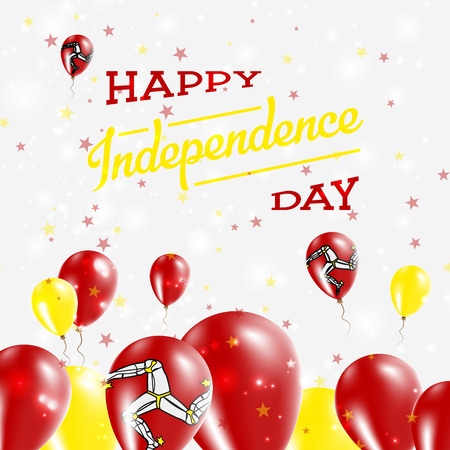 Isle of Man Independence Day Patriotic Design. Balloons in National Colors of the Country. Happy Independence Day Vector Greeting Card. Illustration