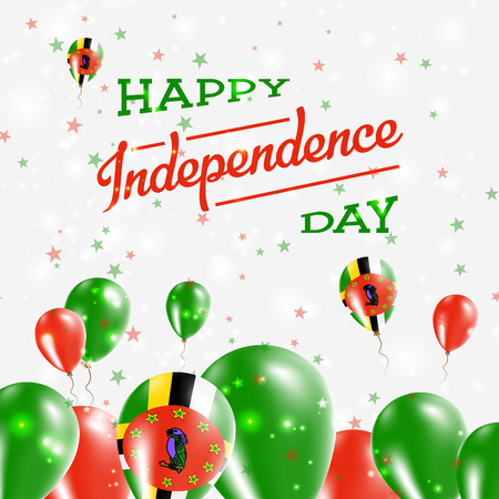 Dominica Independence Day Patriotic Design. Balloons in National Colors of the Country. Happy Independence Day Vector Greeting Card. Vektorové ilustrace